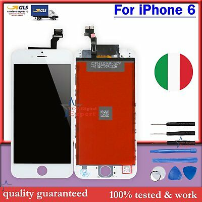 Per Apple Iphone 6 Touch Screen Lcd Display Retina Vetro Schermo Bianco + Frame