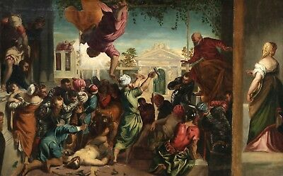 c.1800 LARGE ITALIAN OLD MASTER OIL CANVAS - TINTORETTO - MIRACLE OF SAINT MARK