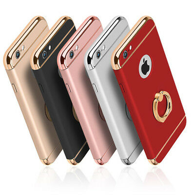 Full Body Hybrid Shockproof Case Cover with Gold Ring holder For iPhone 6 6s 7 8
