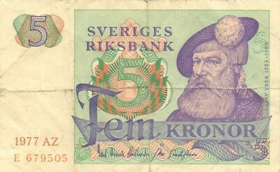 SWEDEN - P.51, 5 Kronor 1977. F