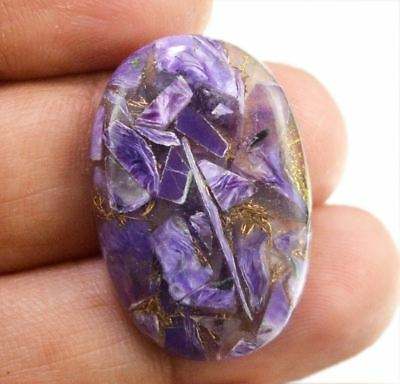 19ct Natural Pear Cabochon Blue Charoite Turquoise Loose Gemstone For Pendant