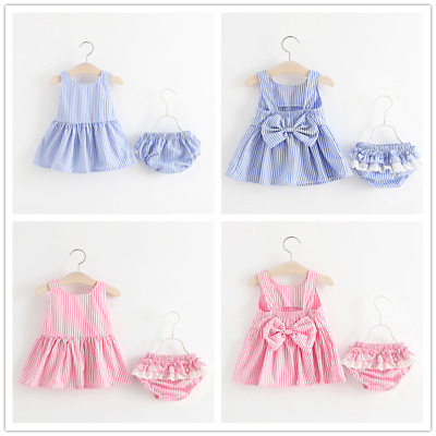 Newborn Baby Girl Bowknot Suspenders Tops Dress+Shorts 2Pcs Outfits Set Clothes