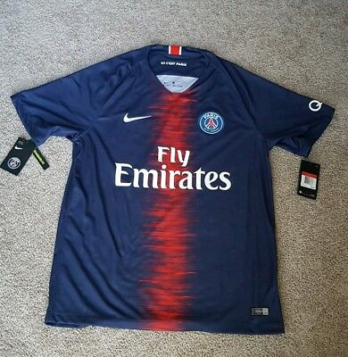 0102689d840f6e PSG Men s Adult Large NIKE Home PARIS SAINT-GERMAIN Soccer JERSEY 18 19  authenti