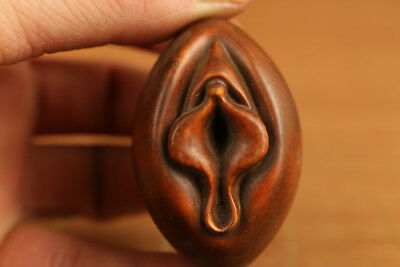 ancient unique japanese old boxwood cysthus statue netsuke collectable ornament
