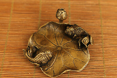 chinese old bronze hand car ved fish desk decoration statue Incense inserted