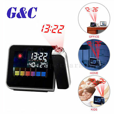 Digital LCD Time Projector Snooze Alarm Clock Temperature Weather Humidity