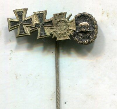 Wwi Imperial German 4-Place Medal Stickpin-Iron Cross & Wound Badge-Original