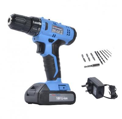 Tooltronix 18V Cordless Drill Driver Li-Ion Electric Screwdriver Led Light Blue