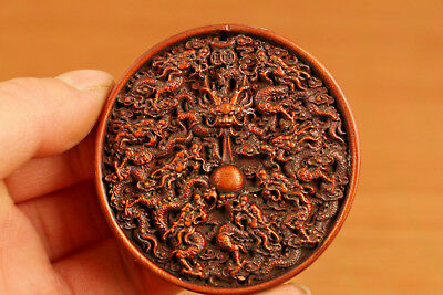 chinese antique boxwood hand carved dragon statue netsuke collectable