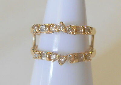 RJM Royal Jewelry 14K Yellow Gold Diamond Wedding Ring Guard Enhancer Size 7.5