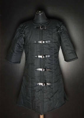 Medieval thick padded Black Gambeson with Removable Short Sleeves Jacket