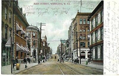 Antique Post Card Main Street Wheeling West Virginia WV 1906