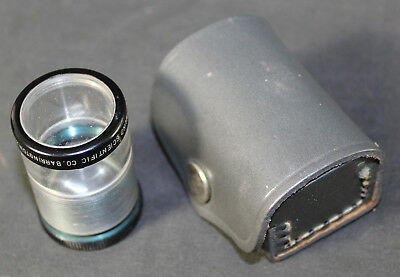 Vintage Edmund Scientific Jeweler's Loupe Magnifying Lens in Leather Case
