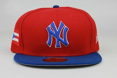 New York Yankees Puerto Rico Flag Red Blue MLB New Era 59Fifty Fitted Hat Cap NY