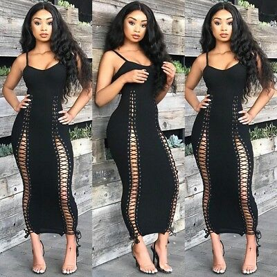 New Sexy Women Solid Color Backless Sleeveless Bodycon Bandage Long Party Dress