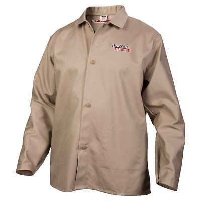 Lincoln Electric K3317 Traditional Khaki FR Cloth Welding Jacket, Large