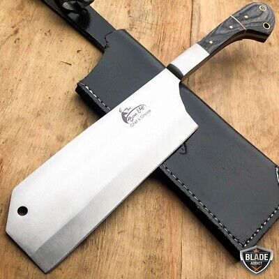 "12"" MEAT CLEAVER CHEF BUTCHER KNIFE Steel Chopper Full Tang Kitchen Black Wood"