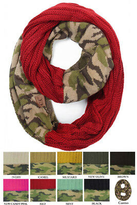 Jinscloset CC Hot and New Cable Knit Warm Winter Camo Camouflage Infinity scarf