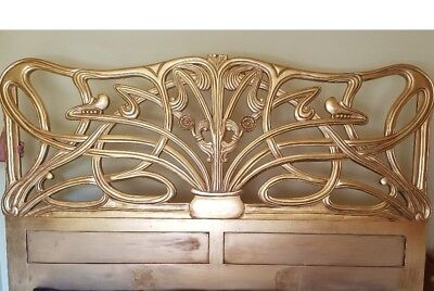 Mahogany 6' Super King Size Cheri Art Nouveau Gilt Gold Head Board Louis 2nd