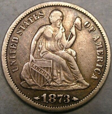 1873 Liberty Seated Silver Dime Appealing Features Bold Motto—Huge Bidathon Sale