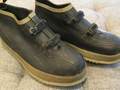 VINTAGE Rubber Rain Snow Work Overshoes Protective GALOSHES sz 12 Made in KOREA