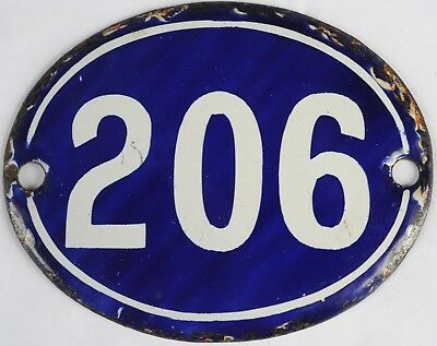 Old blue oval French house number 206 door gate plate plaque enamel steel sign