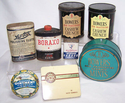 Lot of Vintage Advertising Tins: Nuts, Spice, Candy, Cigar & More