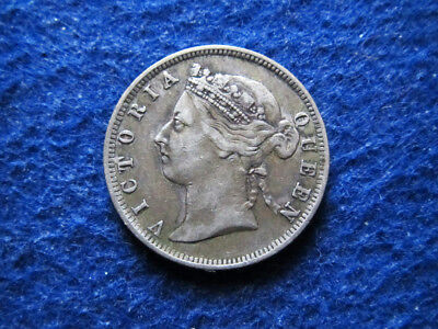 1893 British Straits Settlements Silver 20 Cents - Free U S Shipping