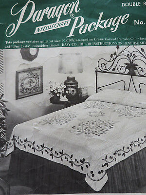 Paragon Stamped Quilt Top Kit CHERRY TREE Double Bed #01135 Partially Cut Pieces
