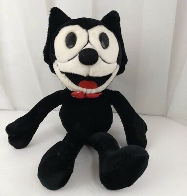 "Felix the Cat 14"" Plush A&A Large Stuffed Toy Comic Character Doll  Bow Tie"