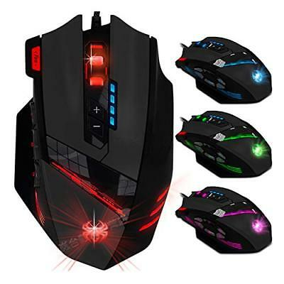 KINGTOP Optische Gaming Maus, kabelgebundene Wired Gaming Maus, USB (Schwarz)