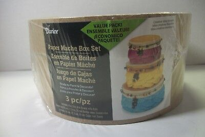 "Darice paper mache box set 4"",5"",6"" boxes w/lids"