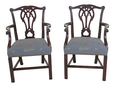 25653EC: Pair STICKLEY Colonial Williamsburg Mahogany Chippendale Arm Chairs