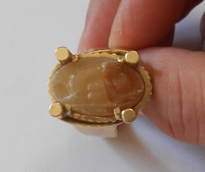 Rare Antique Mens 14k Gold Ring Erotica Ancient Roman Hardstone Cameo  Heavy