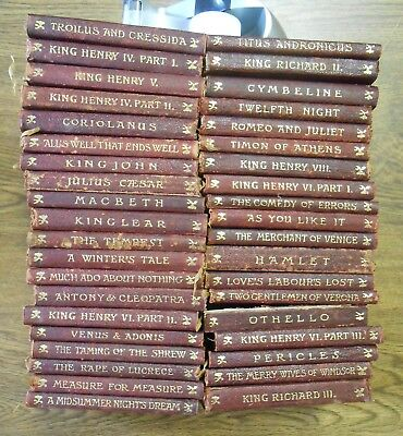 39 Volumes The Temple Shakespeare 1902 Books Dent & Sons Burgundy Cloth Binding