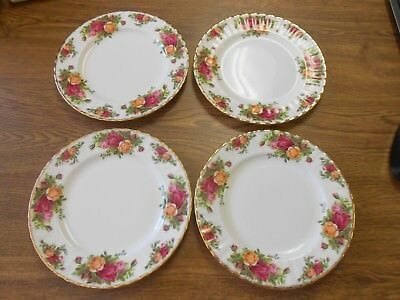 "4 Royal Albert Old Country Roses England 8"" Salad Plate Fluted Edge Excellent!"