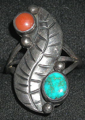 Vintage Native American Sterling Turquoise Coral Feather Design Ring