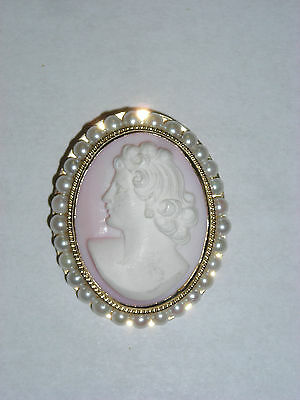 Antique 14K Yellow Gold Pin Brooch Pendant with Carved Cameo & Cultured Pearls
