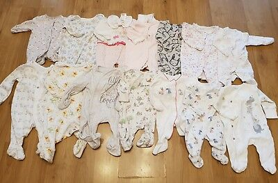 massive bundle baby girls NEWBORN sleepsuits x 14 babygrows george next Disney
