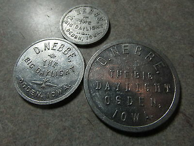 Set of 3 D. Nebbe The Big Daylight Ogden, IA 10c, 50c, $1 Trade Tokens - Iowa