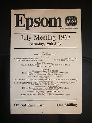 Epsom  Race Card  ( Saturday 29Th July 1967 )
