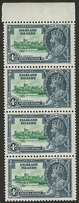 Falkland Islands 1935 KGV Silver Jubilee 4d Margin Strip of 4 Mint SG141 cat £96