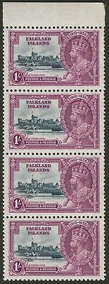 Falkland Islands 1935 KGV Silver Jubilee 1sh Margin Strip of 4 Mint SG142 cat£60