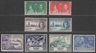 Falkland Islands 1937-49 KGVI Coronation ½d 1d Victory Pair /75th Anniv UPU Mint