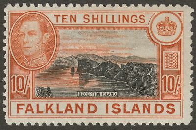 Falkland Islands 1949 KGVI 10sh Black and Red-Orange Mint SG162b cat £120
