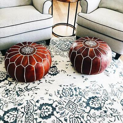 Authentic MOROCCAN of 2 POUF Leather Pouf Ottoman Big Promo of 2 Pouffe footst