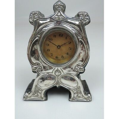 An Edward VII Art Nouveau Silver Mounted Clock German Movement Ridley Bros 1906