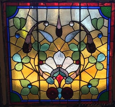 "Large Antique 1890's Victorian Stained Leaded Glass Window 36"" by 35"""