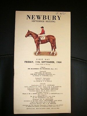 Newbury Race Card  ( Friday 11Th September 1964 )