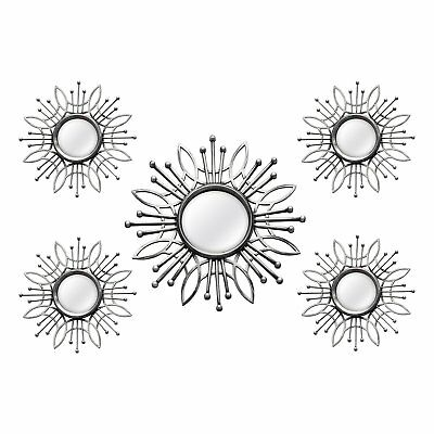 Stratton Home Decor 5 Piece Hand Painted Plastic Silver Burst Wall Mirror Set
